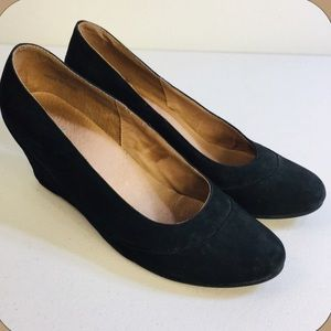 J.Jill Black Leather Suede Close Toe Wedge Shoes